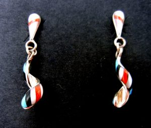 Zuni small multi-stone inlay and sterling silver spiral dangle earrings by Idella Edaakie