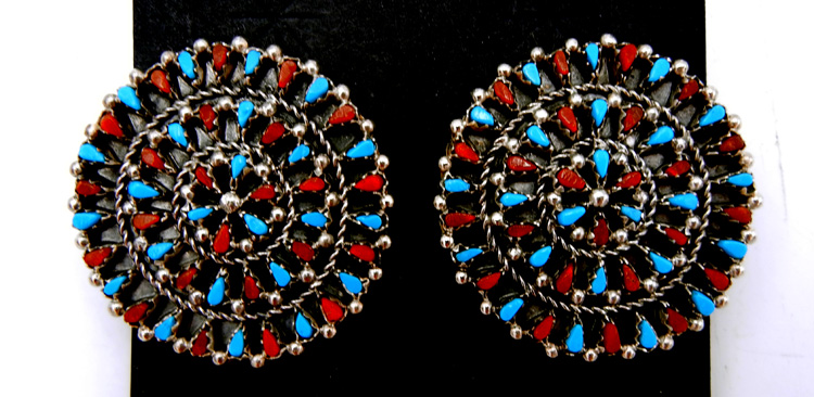 Zuni turquoise and coral petit point and sterling silver earrings