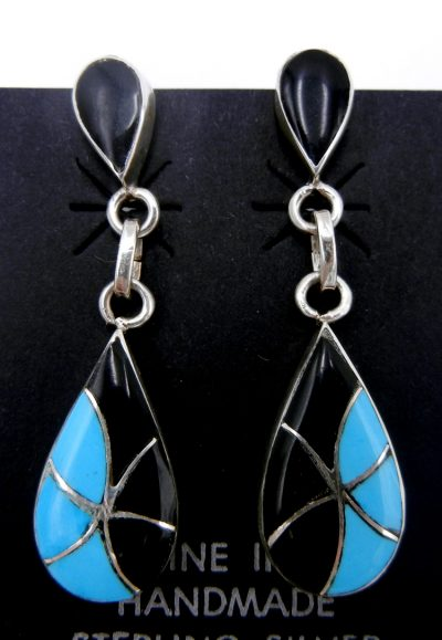 Zuni turquoise, jet, and sterling silver inlay earrings by Orlinda Natewa
