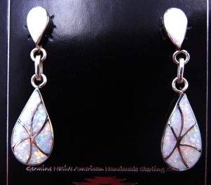 Zuni white lab opal and sterling silver inlay earrings by Orlinda Natewa