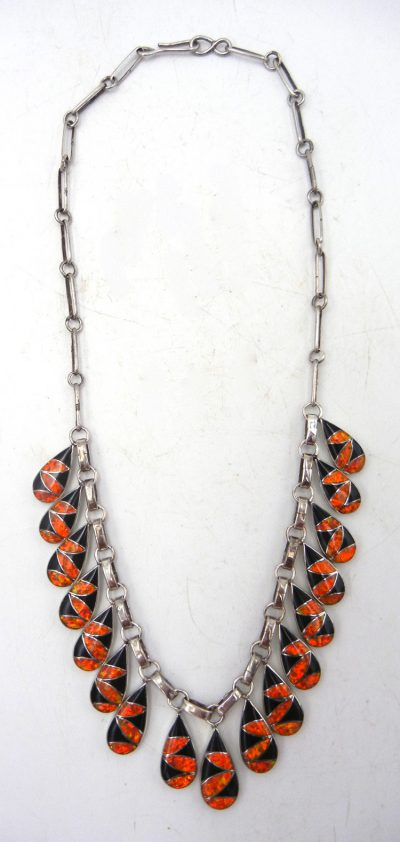 Zuni orange lab opal, jet, and sterling silver inlay necklace