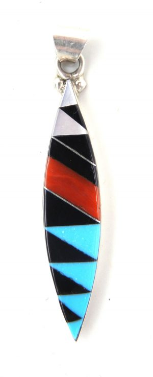 Zuni multi-stone inlay and sterling silver pendant