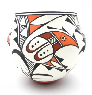 Acoma polychrome parrot design olla by David Antonio