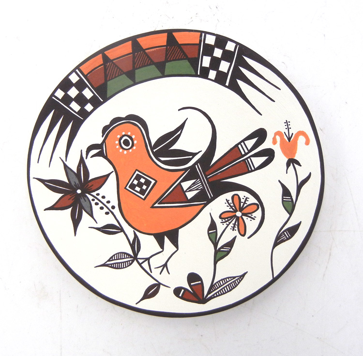 Acoma small polychrome handmade and hand painted parrot plate by Carolyn Concho