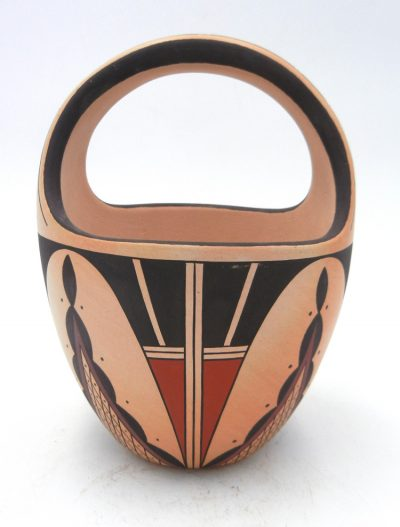 Hopi handmade and hand painted basket with traditional weather and geometric designs by Stetson Setalla