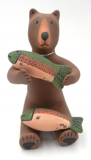 Jemez handmade and hand painted bear figurine with two fish by Marcus Wall