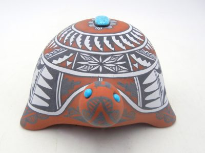 Jemez polychrome turtle figurine with turquoise accents by Scott Small