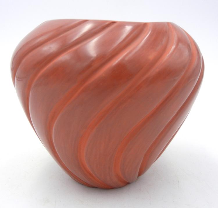 Jemez red polished swirl bowl by Pauline Romero