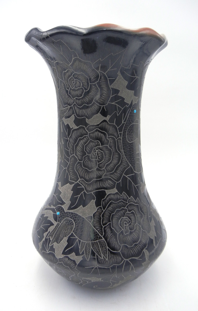 Santa Clara large etched and polished vase with turquoise and coral accents by Gwen Tafoya