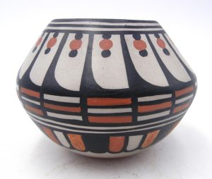 Santo Domingo polychrome feather and geometric design bowl by Robert Tenorio