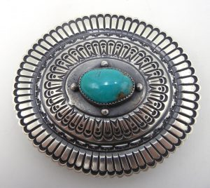Navajo turquoise and sterling silver concho belt buckle