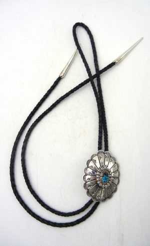 Navajo sterling silver and turquoise concho style bolo tie