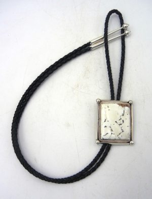 Navajo white buffalo and sterling silver bolo tie by Leslie Nez
