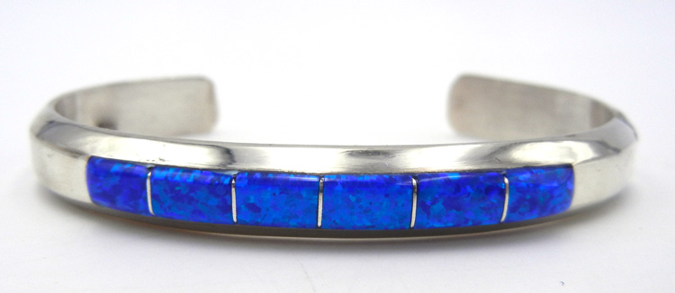 Navajo blue lab opal and sterling silver channel inlay cuff bracelet