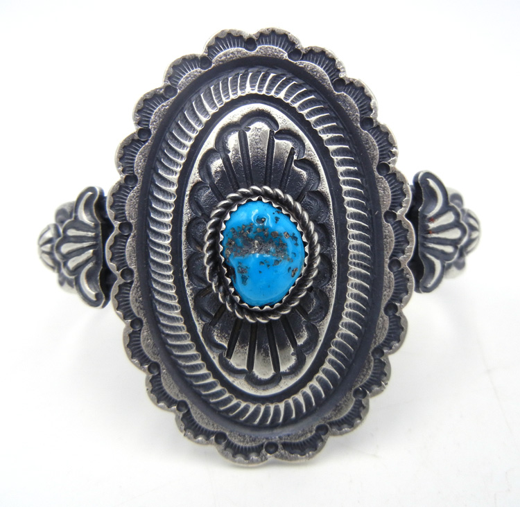 Navajo sandcast sterling silver and turquoise nugget cuff bracelet by Kevin Billah