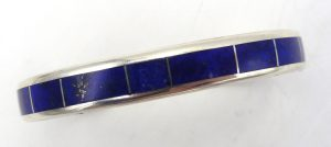 Navajo lapis and sterling silver channel inlay cuff bracelet by Larry Loretto
