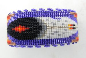 Navajo multi-colored beaded feather cuff bracelet by Weltin Hoffman