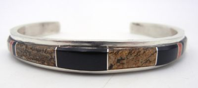 Navajo multi-stone channel inlay and sterling silver cuff bracelet