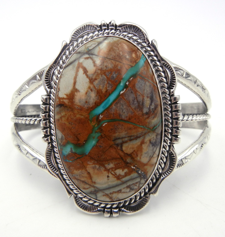 Navajo Royston Ribbon turquoise and sterling silver cuff bracelet by Will Denetdale