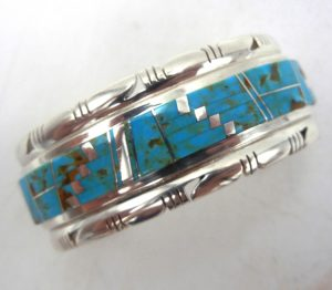 Navajo contemporary turquoise and sterling silver inlay cuff bracelet