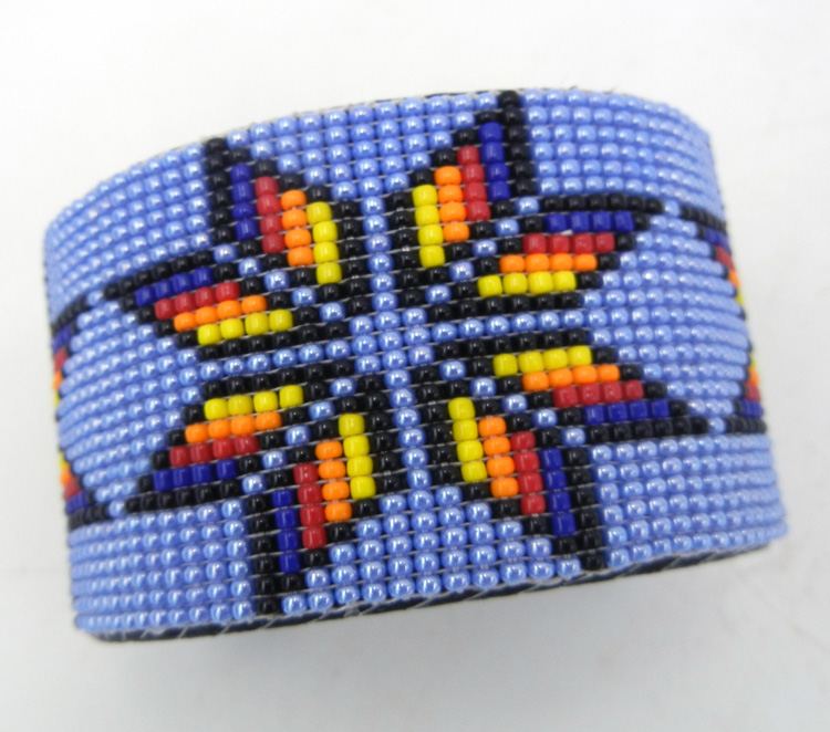 Navajo multi-colored beaded cuff bracelet by Weltin Hoffman