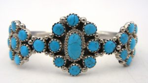 Navajo triple turquoise and sterling silver rosette cuff bracelet by Zeita Begay