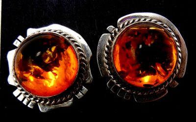 Navajo amber and sterling silver earrings