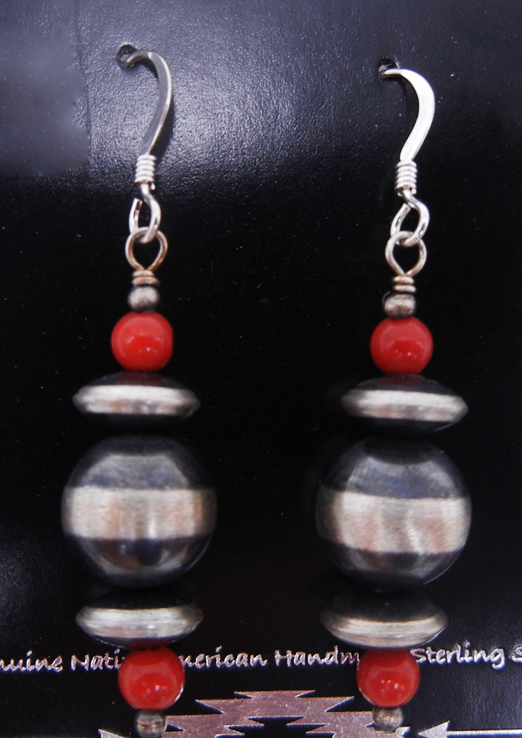 Navajo brushed sterling silver Navajo pearl and coral bead earrings