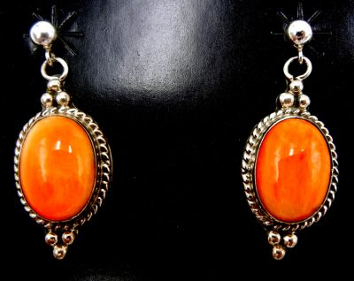Navajo orange spiny oyster shell and sterling silver dangle earrings
