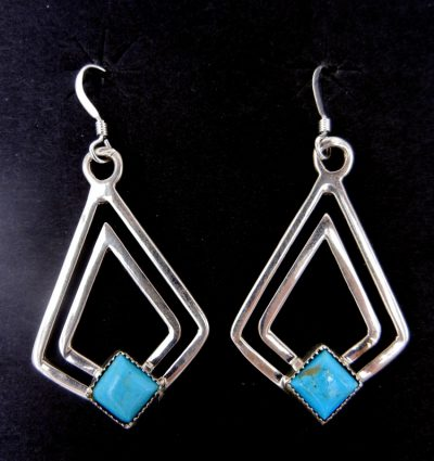 Navajo sterling silver and turquoise diamond dangle earrings