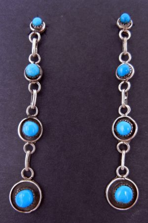 Navajo four stone turquoise and sterling silver dangle earrings