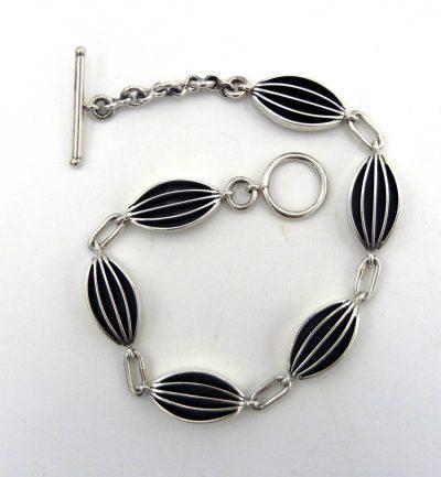 Navajo contemporary sterling silver link bracelet