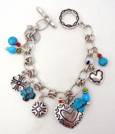 Navajo multi-stone and sterling silver charm bracelet by Elgin Tom
