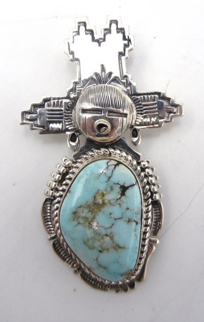 Navajo Dry Creek turquoise and sterling silver maiden pendant by Bennie Ration