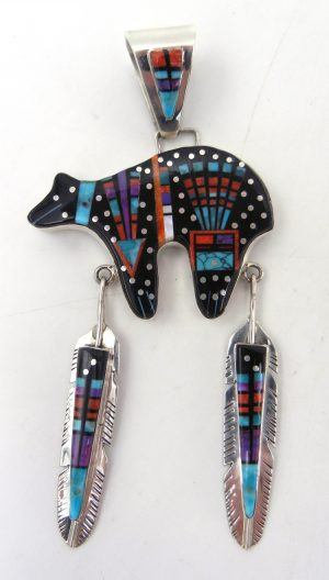Navajo multi-stone inlay and sterling silver bear and feathers pendant by Sammy Smith