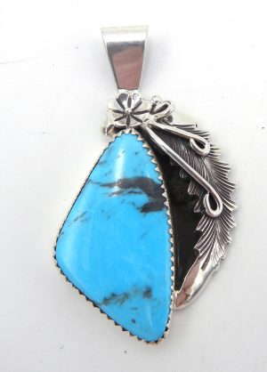 Navajo turquoise and sterling silver pendant by Peterson Johnson