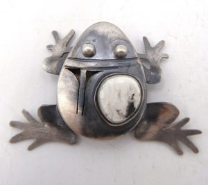Navajo brushed sterling silver and white buffalo frog pin/pendant by Bennie Ration