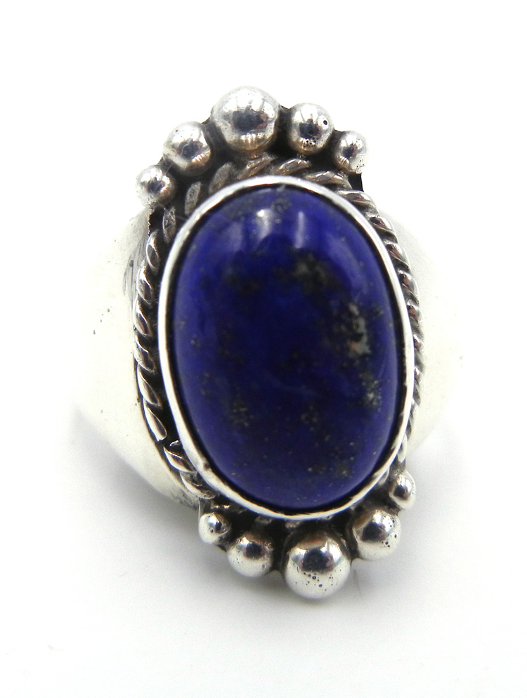 Navajo oval lapis and sterling silver ring