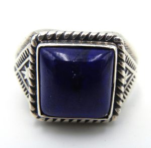Navajo square lapis and sterling silver ring