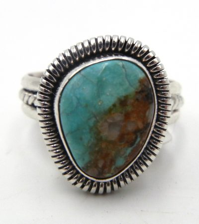Navajo small contemporary turquoise and sterling silver ring