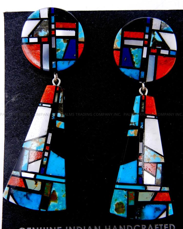 Santo Domingo multi-stone inlay slab earrings by Chris Nieto