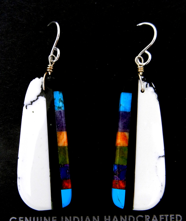 Santo Domingo multi-stone inlay slab earrings by Ronald Chavez