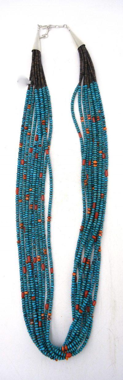 Santo Domingo 10 strand olive shell heishi and multi-stone beaded necklace by Irene Lovato