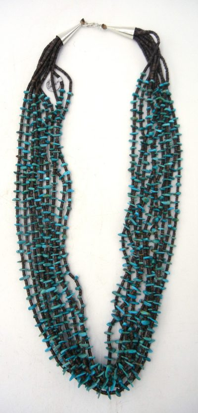 Santo Domingo 10 strand olive shell heishi and turquoise necklace by Jeanette Calabaza