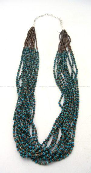 Santo Domingo 12 strand olive shell and turquoise heishi necklace by Josephine Coriz