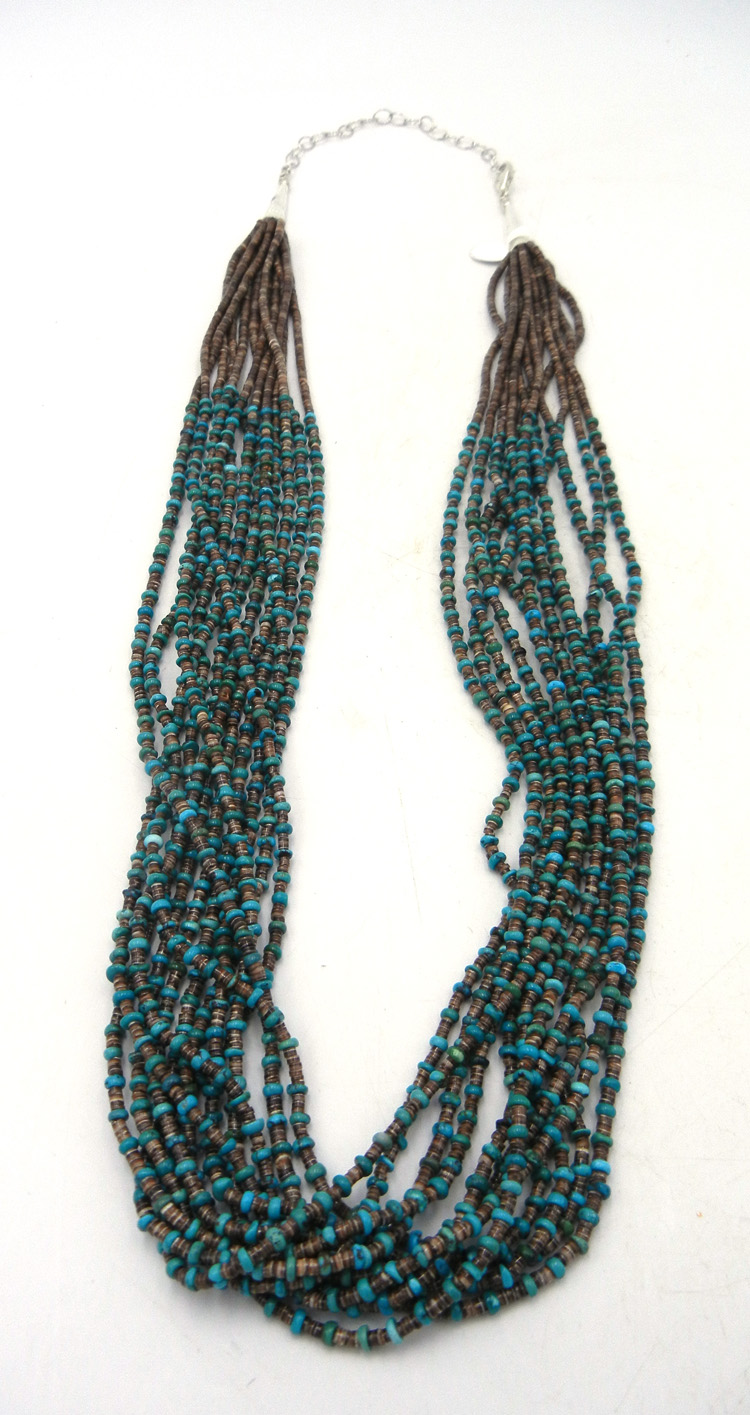 Santo Domingo 12 strand olive shell and turquoise heishi necklace by Josephine Coriz
