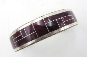 Zuni purple spiny oyster shell and sterling silver channel inlay cuff bracelet by Rickel and Glendora Booqua