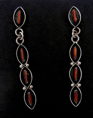 Zuni coral needlepoint and sterling silver dangle earrings