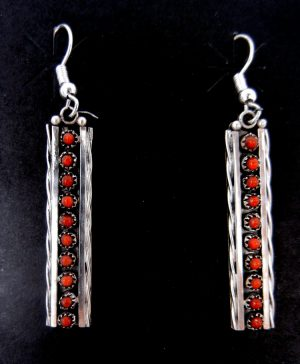 Zuni coral petit point and sterling silver dangle earrings