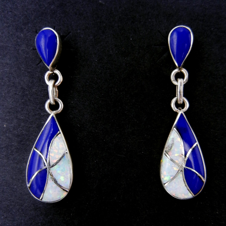Zuni lapis, lab opal and sterling silver inlay dangle earrings by Orlinda Natewa